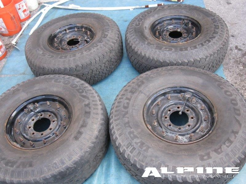 "Origianal 16.5"" Hummer H1 H2 Ford f250 F350 chevy 2500 8 lug wheels rims tires - OEM parts"