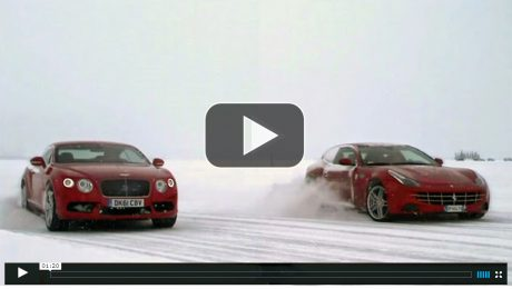 Ferrari FF Vs. Bentley Continental V8 on Ice at the edge of the Arctic Circle