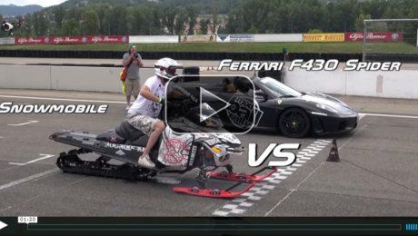 Snowmobile vs Ferrari 458 and F430 Spider in Drag Race Modball Rally 2015