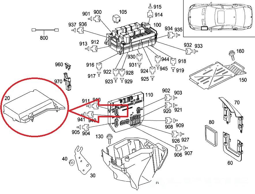 origianal mercedes benz s550 cl550 left case housing fuse